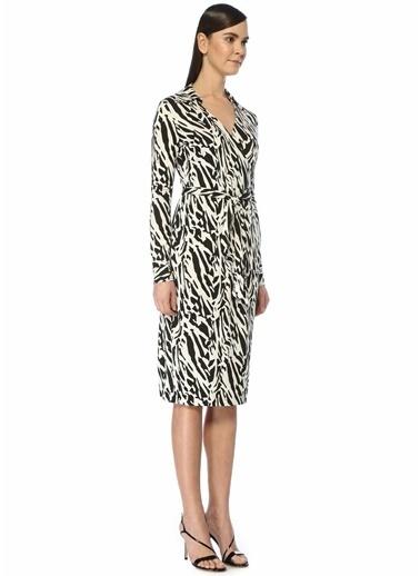 Diane Von Furstenberg Diane Von Furstenberg 101479734 K V Yaka Kruvaze Kesim Desenli Kuşaklı Midi Kadın Elbise Siyah